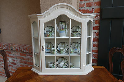 Antique Vintage French Painted Wood Wall Cabinet Vitrine Display Curio Glass