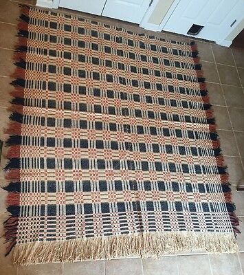 Antique Pa Estate 19th Century Coverlet Old Woven Textile Quilt Blue Green Red