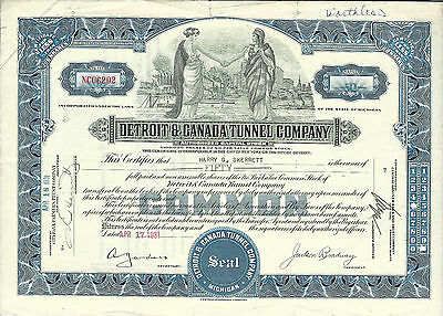 MICHIGAN Detroit & Canada Tunnel Co Stock Certificate  1931 Detroit & Windsor