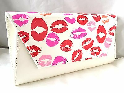 New White Faux Patent Leather Evening Day Clutch Bag Pink Lips Kisses Party Prom