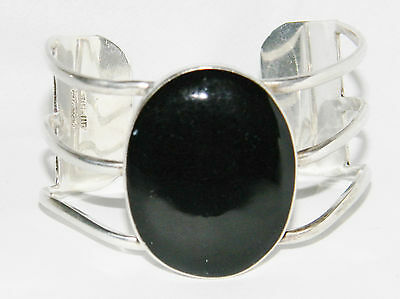 Vintage Sterling Silver LARGE Onyx Taxco Mexico Modernist Cuff Bracelet TB-118