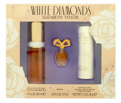 Elizabeth Taylor White Diamonds Gift Set 30Ml Edt + 3.7Ml Parfum +  28G Satin Bo
