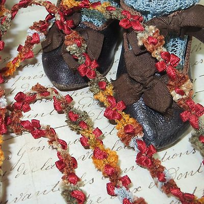 """1ft FRENCH 3//8/"""" RAYON OMBRE DAISY FLWER TRIM ROCO ROSETTE RIBBON DOLL DRESS VTG"""