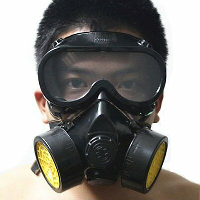 Vktech Industrial Gas Chemical Anti Dust Respirator Mask Goggles Set Style New