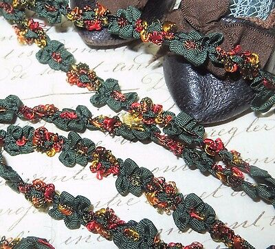 1y FRENCH CHENILLE ROCOCO TRIM GOLD GREEN ROSETTE VTG ANTQ RIBBON DOLL JACQUARD