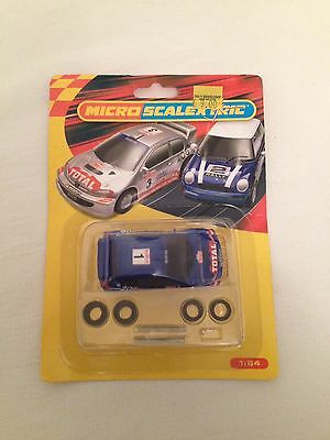 Micro Scalextric Peugeot 206 Rally Car Moc Unused Blue #1