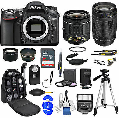 Nikon D7100 Digital SLR Camera + 4 Lens Kit: 18-55mm + 70-300mmG + 32GB Bundle