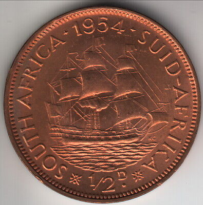 1954 British South Africa half penny, red uncirculated, rare low mintage, KM-45