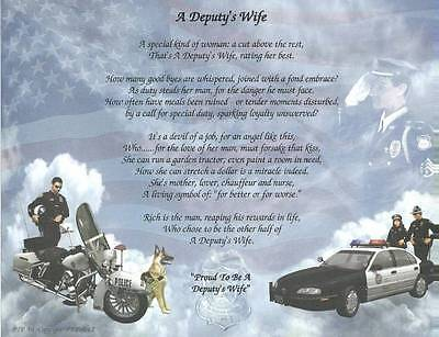Deputy's Wife Poem Personalize with Name Police, Sheriff Gift