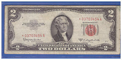 1953C- $2 ** STAR ** Red Seal Note Two Dollar Bill LOT A925