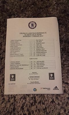 FA Youth Cup Chelsea v Sheffield Wednesday colour teamsheet 1.2.2017
