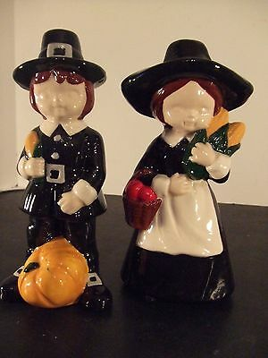 "Vintage 7"" Tall -Hand Painted Boy & Girl Thanksgiving Pilgrim Statues"
