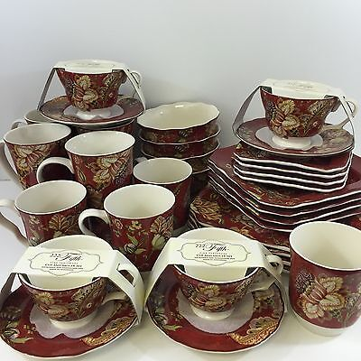 NEW!! 32pc 222 Fifth Gabrielle Red Complete Porcelain Dinnerware Set