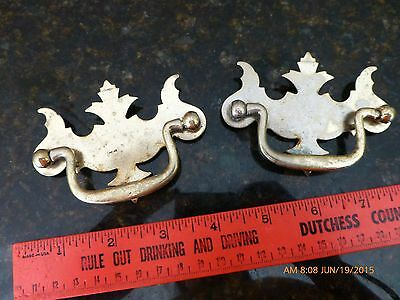 lot of 2 Vintage Drawer pulls antique salvage dresser night stand pull