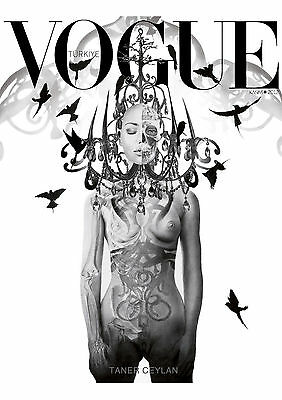 Art Print POSTER / Canvas a4 - a1 size large black white Vogue Cover Turkish Art