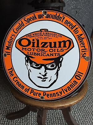 Oilzum Porcelain Gas Pump Sign Gasoline Enamel Oil Lube Can Pure Motor Lubricant