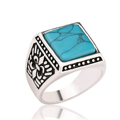 Men's Silver Plated Elegant Square Turquoise Iris Versicolor Flag Fashion Rings!