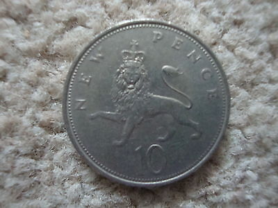 Old Large Type British 10 New Penny Queen Elizabeth Ii Decimal Coin Dated 1971.