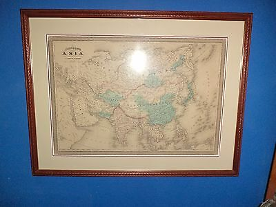 ANTIQUE ASIA MAP WOOD GLASS RUSSIA JONHSON'S ASIA mid 1800s