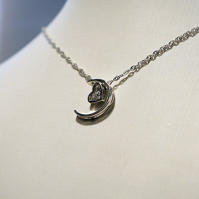 Sterling Silver 925 Moon and Heart Pendant on Necklace Chain G33