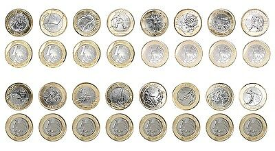 Brazil 1 Real 7g Bi-Metallic 16 Pieces (PCS) Coin Set,2015-16,Mint,Rio Olympics