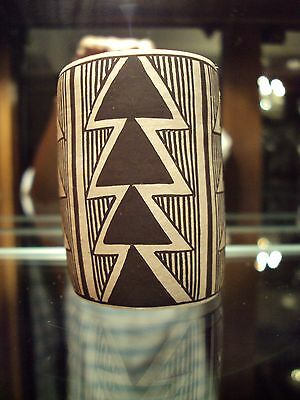 """Acoma Pottery Carmel Lewis Small Cylinder Pot Vessel/Signed c.1997  2 1/8""""h"""