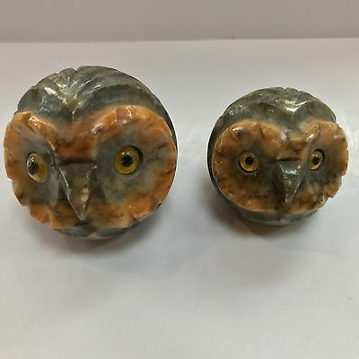 Alabaster Owl Bird Head Glass Eyes Figurine Paperweight Italiano