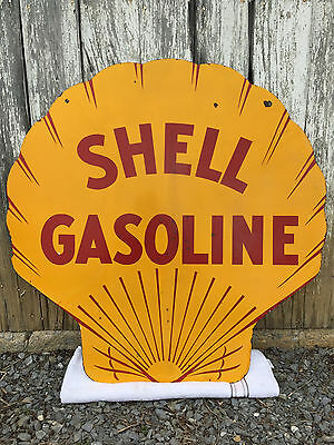 Original 1929 Shell Gasoline Double-sided Porcelain Sign