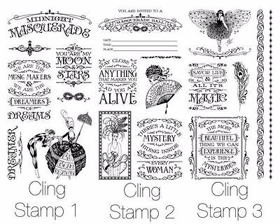 "Graphic 45 ""midnight Masquerade"" Cling Stamp Sets 1, 2, & 3  Scrapjack's Place"
