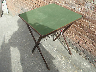 Antique Edwardian Folding Wooden Games / Card Table Green Baize Top