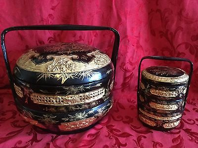Set 2 Beautiful Antique Chinese Wedding Baskets Black & Gold Lacquer
