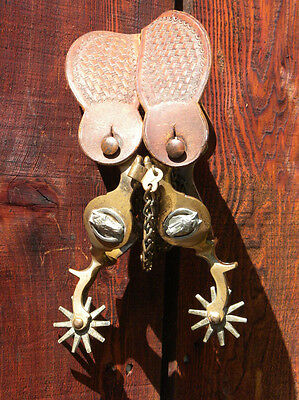 Antique North and Judd (anchor marked) Brass Horse head Spurs, with nice straps