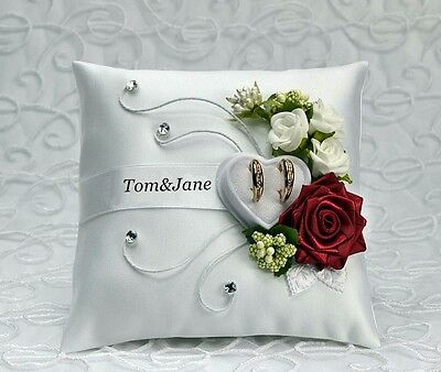 ** Personalized wedding ring cushion pillow with rings holder box 30 color *..
