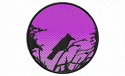 Blue Jay Silhouette Embroidery Patch (purple) Auction