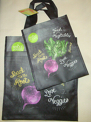 New Whole Foods Reusable Shopping Grocery Bags Qty 2 (1 Large/1 Small) Veggies