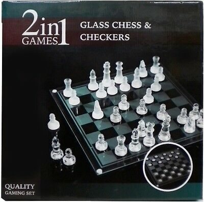 New Quality 2 in 1 Games Glass Chess & Checkers Game Set Board Boards Gaming Set