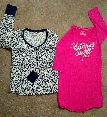 Victoria Secret Pink Lot Set Of Two Sleep Shirts Size Small Medium