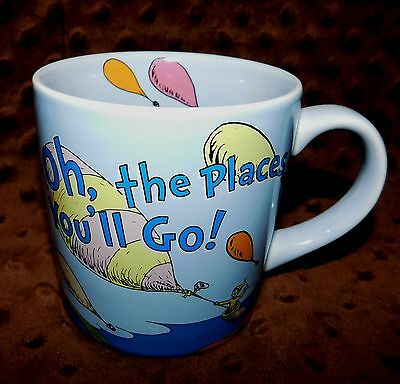 Doctor Seuss Coffee Mug Tea Cup Oh The Places You'll Go Theodore Geisel Blue GUC
