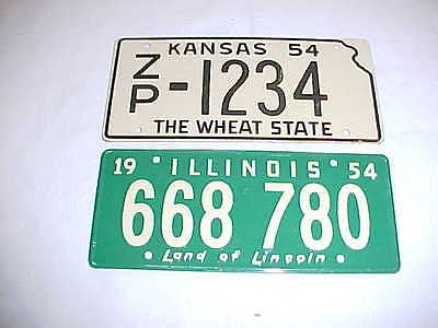1954 Wheaties Cereal Promo Bicycle License Plates Illinois