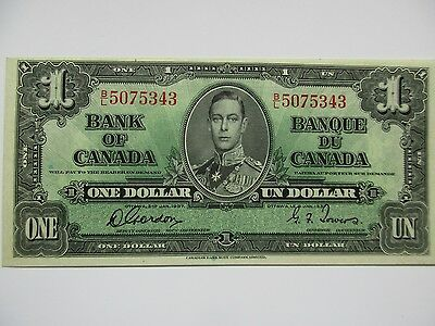Bank of Canada, $1 Note, 1937, Choice About Uncirculated, BC-21c