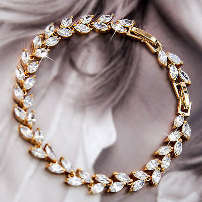 9K GOLD GF Womens Wedding Marquise LEAF BRACELET with SWAROVSKI CRYSTAL EX759-G