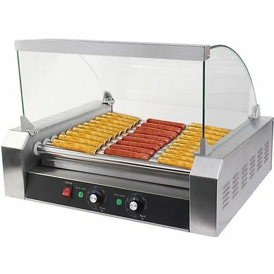 Commercial 11 Rollers 30 Hot Dogs Grill Cooker Machine W/ Cover 1650 W CE New