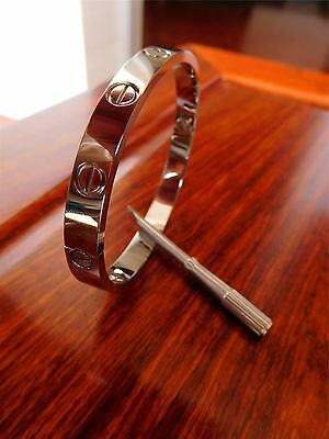 Authentic Cartier Love Bracelet 18K White Gold Bangle Size 17