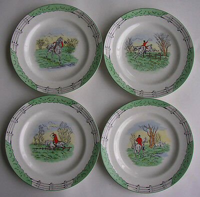 S/4 BURLEIGH BURGESS & LEIGH DAVENPORT HUNTING SCENES 9in LUNCHEON PLATES