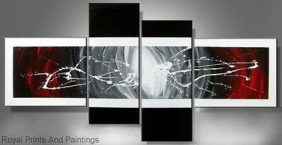 Abstract Black And White With Red| Oil Painting | Handmade | Framed | Home Decor