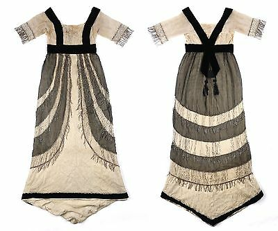 COUTURE 1890-1900's Victorian Silk Gauze Glass Beaded Fringe Evening Gown Dress
