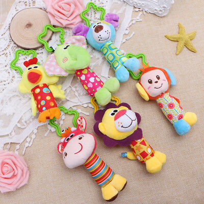 Baby Plush Toy Bed Stroller Hanging Ring Bell Toy Soft Rattle Educational Doll