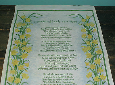 "Vintage Linen Towel poem 'I wandered lonely as a cloud' Wordsworth UK 31"" x 17"""