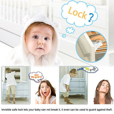 4pcs Magnetic Cabinet Drawer Cupboard Safety Locks for Baby Kids Child Proofing