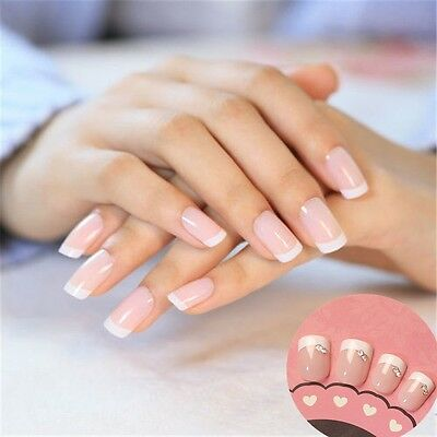 24pcs OVAL Short/Medium FALSE NAILS Full Cover fake Natural Tips FREE GLUE